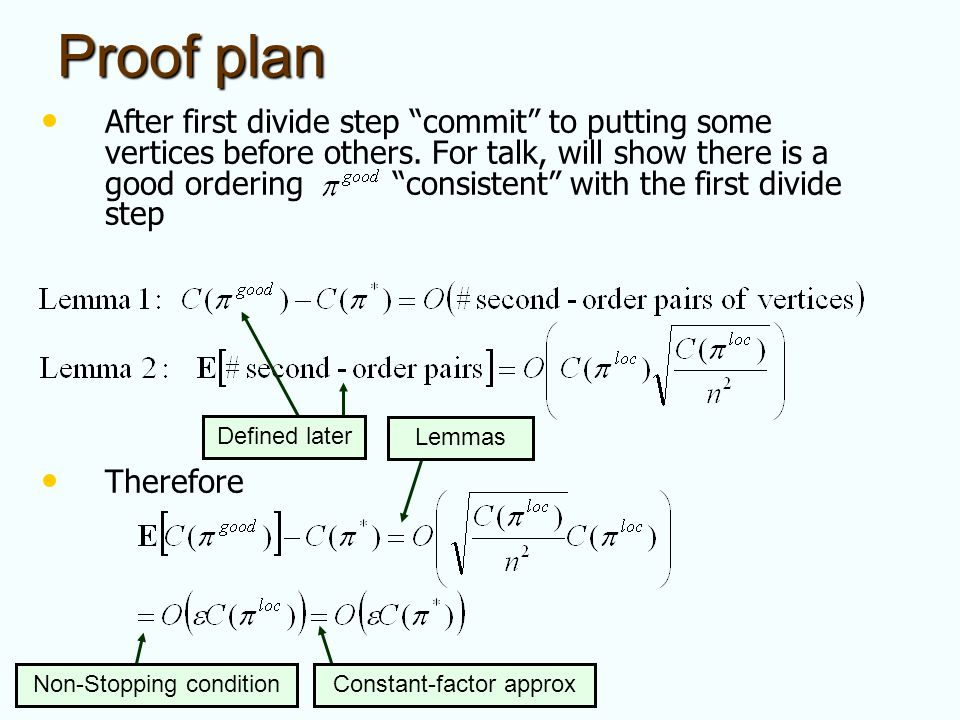 Proof plan After first divide step commit to putting some vertices before others. For talk, will show there is a good ordering consistent with the fir