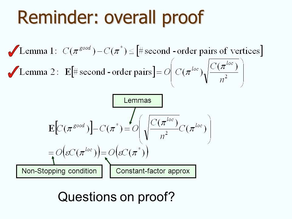 Reminder: overall proof Lemmas Non-Stopping conditionConstant-factor approx Questions on proof?