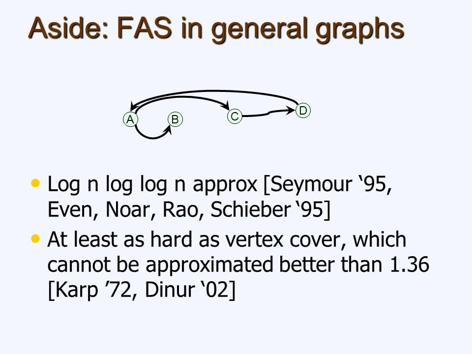 Aside: FAS in general graphs Log n log log n approx [Seymour 95, Even, Noar, Rao, Schieber 95] At least as hard as vertex cover, which cannot be approximated better than 1.36 [Karp 72, Dinur 02] AB C D