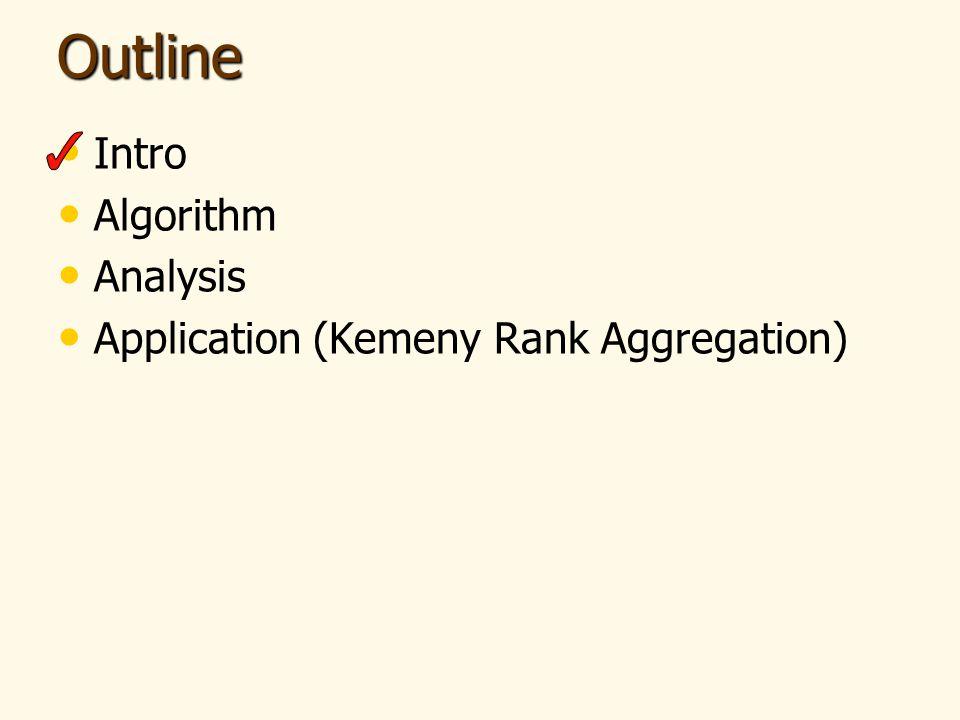 Outline Intro Algorithm Analysis Application (Kemeny Rank Aggregation)