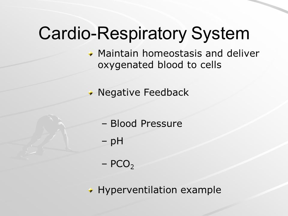 Cardio-Respiratory System Maintain homeostasis and deliver oxygenated blood to cells Negative Feedback – –Blood Pressure – –pH – –PCO 2 Hyperventilati