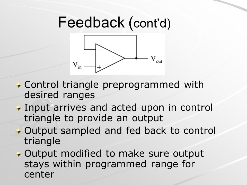 Feedback ( contd) Control triangle preprogrammed with desired ranges Input arrives and acted upon in control triangle to provide an output Output samp