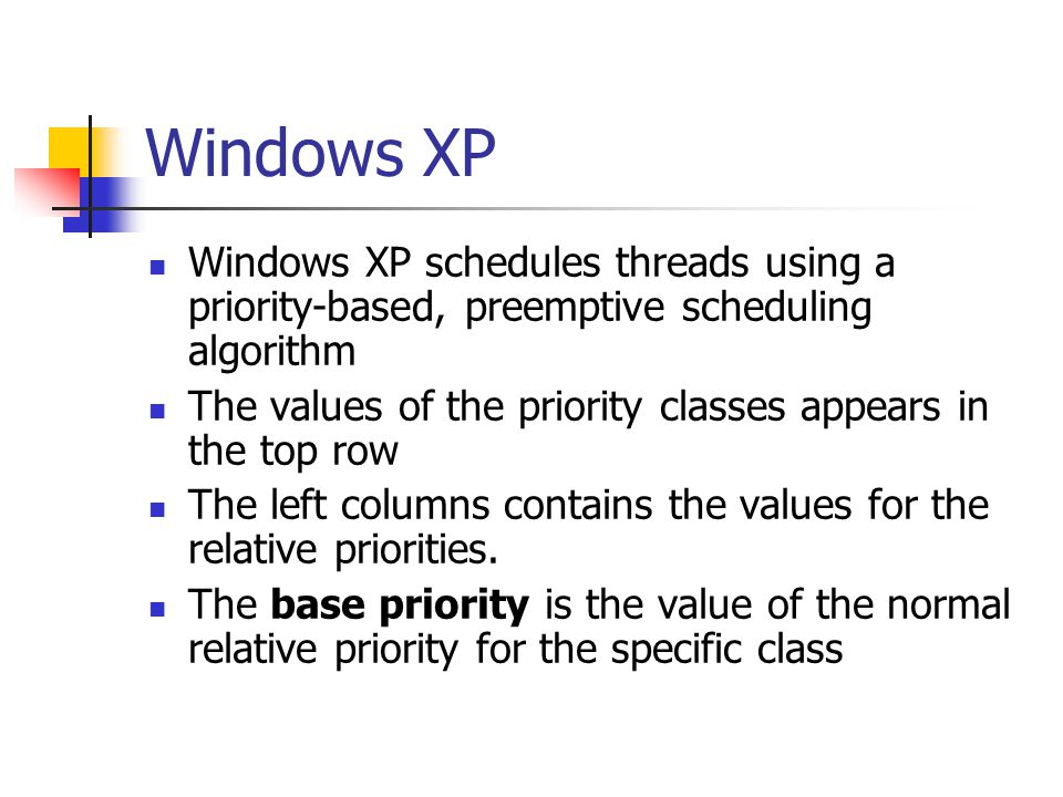 Windows XP Windows XP schedules threads using a priority-based, preemptive scheduling algorithm The values of the priority classes appears in the top