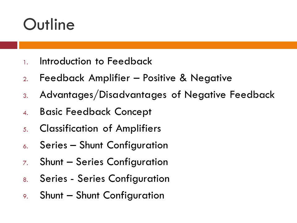 Feedback Amplifier Input and output Impedances Summary 1.