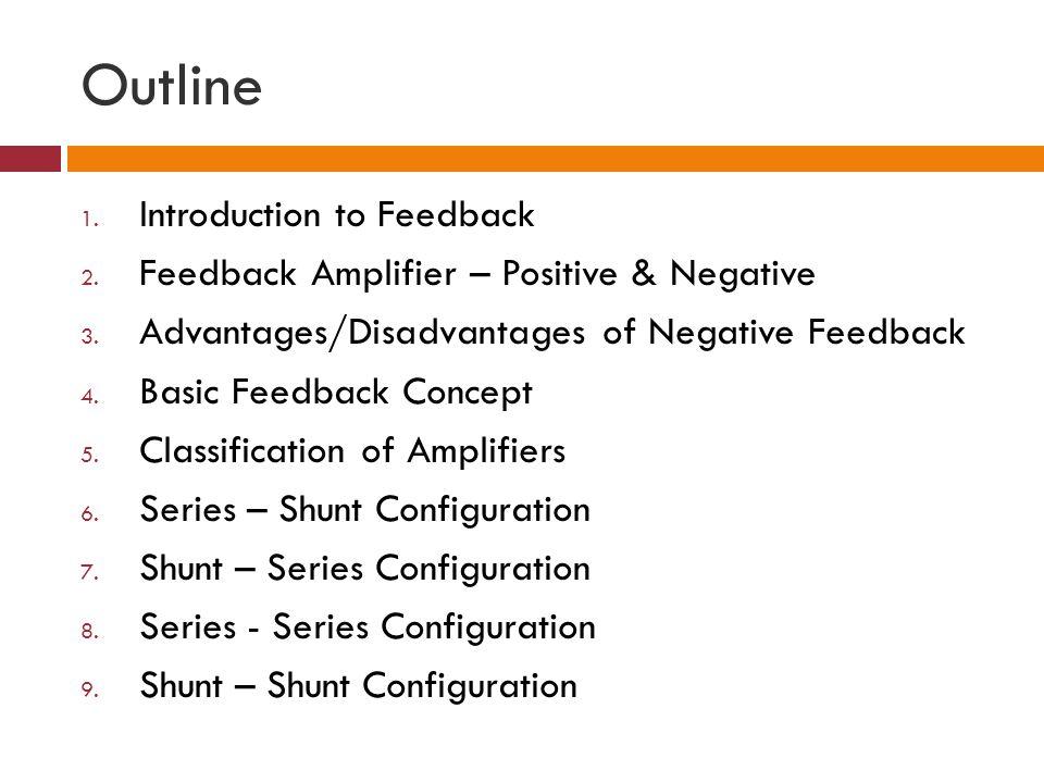 Outline 1. Introduction to Feedback 2. Feedback Amplifier – Positive & Negative 3. Advantages/Disadvantages of Negative Feedback 4. Basic Feedback Con