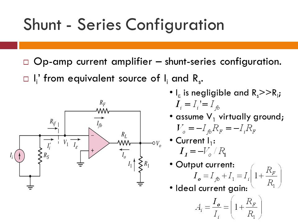 Shunt - Series Configuration Op-amp current amplifier – shunt-series configuration. I i from equivalent source of I i and R s. I is negligible and R s