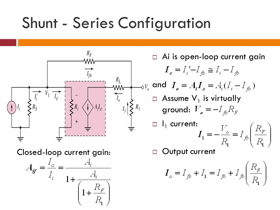 Shunt - Series Configuration Ai is open-loop current gain and Assume V 1 is virtually ground: I 1 current: Output current Closed-loop current gain: