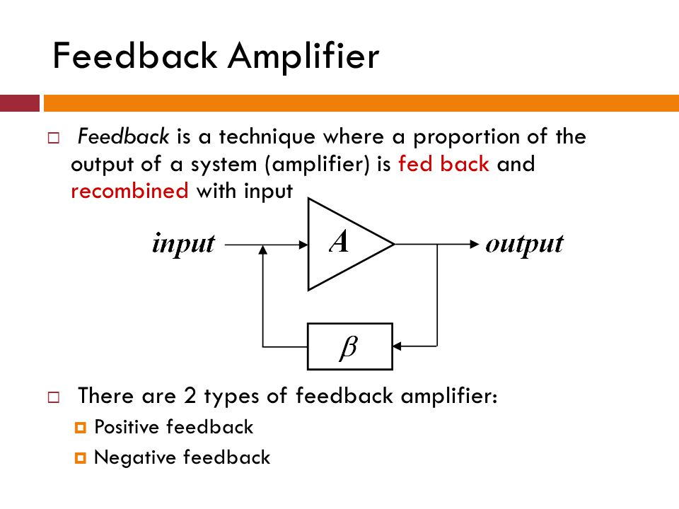 Feedback Amplifier Feedback is a technique where a proportion of the output of a system (amplifier) is fed back and recombined with input There are 2