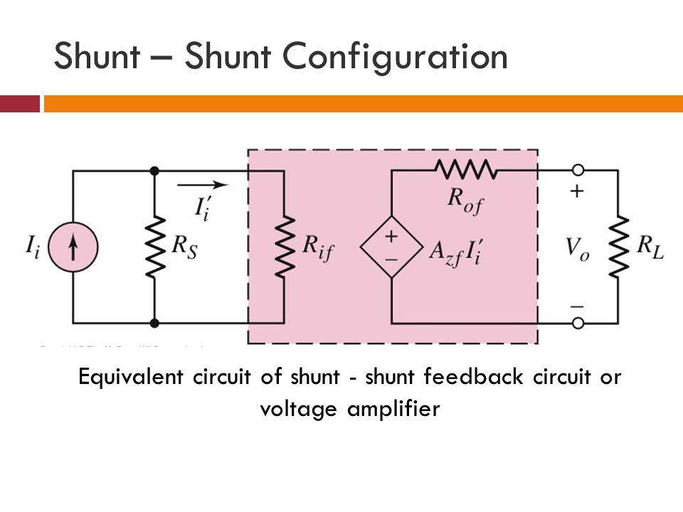 Shunt – Shunt Configuration Equivalent circuit of shunt - shunt feedback circuit or voltage amplifier