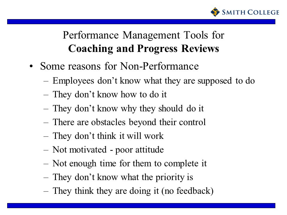 Performance Management Tools for Coaching and Progress Reviews Some reasons for Non-Performance –Employees dont know what they are supposed to do –The