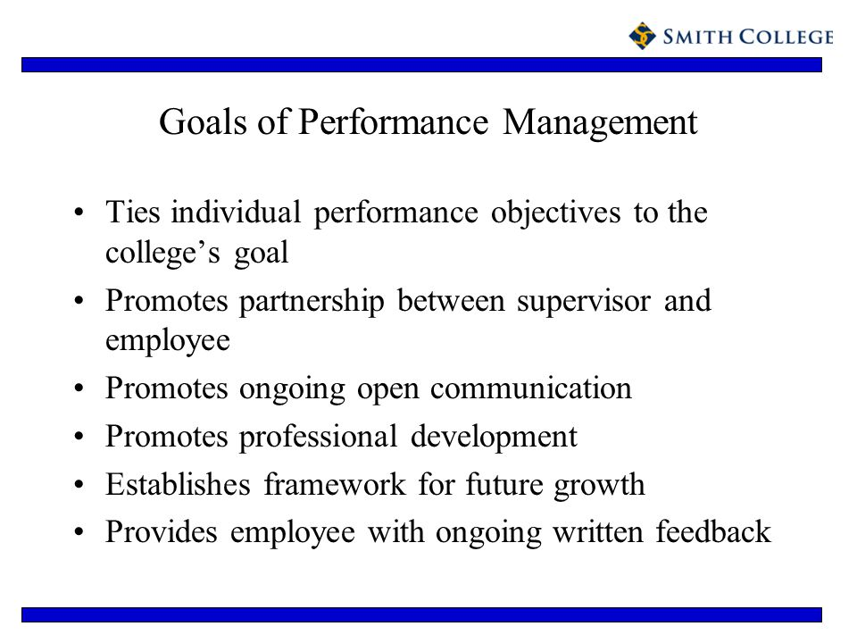 Goals of Performance Management Ties individual performance objectives to the colleges goal Promotes partnership between supervisor and employee Promo