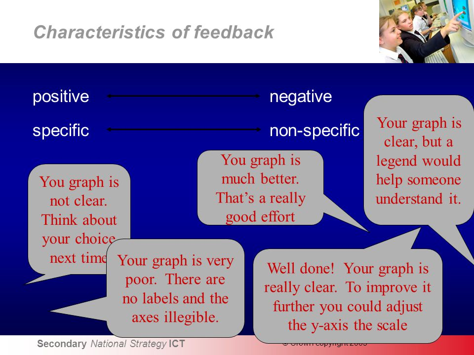 Secondary National Strategy ICT © Crown copyright 2005 Characteristics of feedback positive negative specific non-specific You graph is not clear.