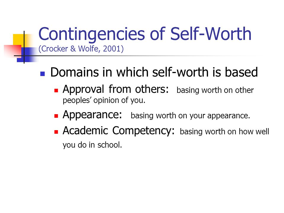 Contingencies of Self-Worth (Crocker & Wolfe, 2001) Domains in which self-worth is based Approval from others: basing worth on other peoples opinion of you.