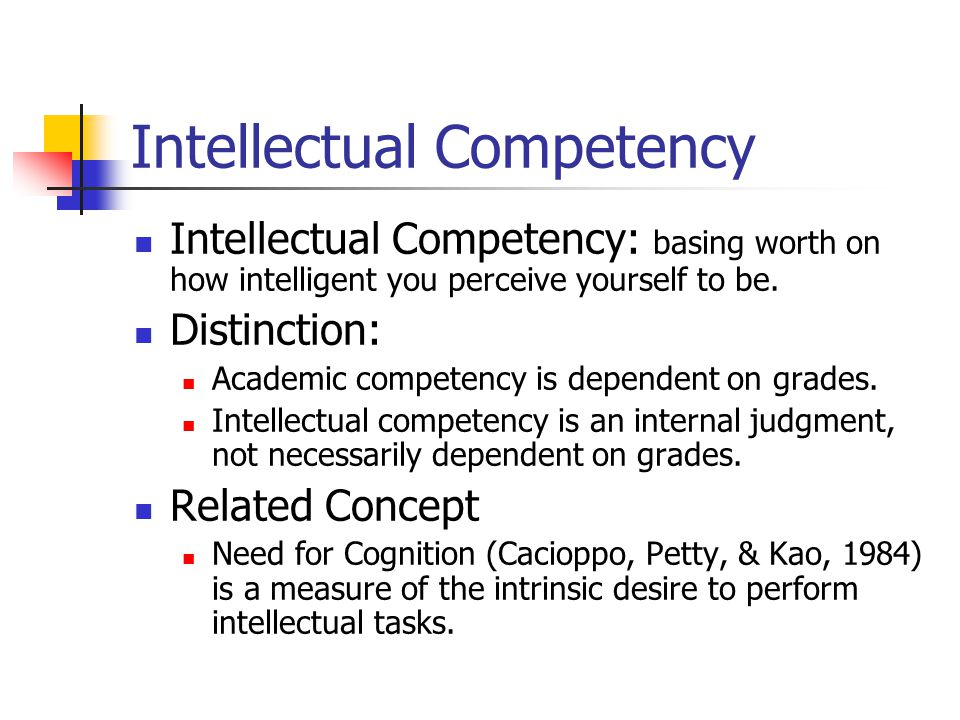 Intellectual Competency Intellectual Competency: basing worth on how intelligent you perceive yourself to be. Distinction: Academic competency is depe