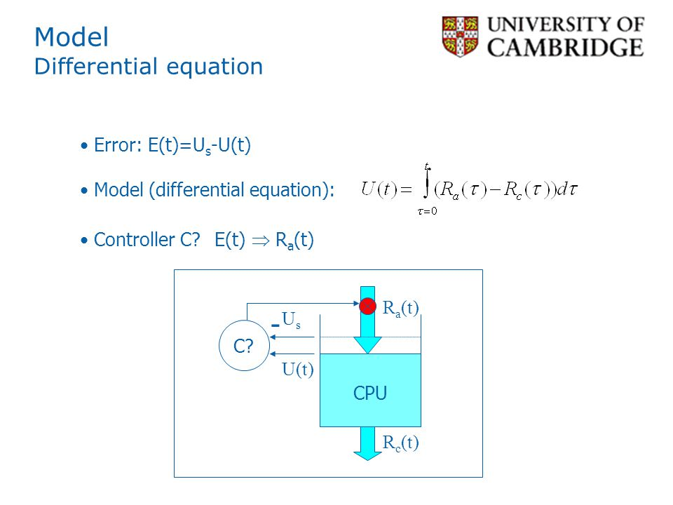 Model Differential equation U(t) R a (t) C.