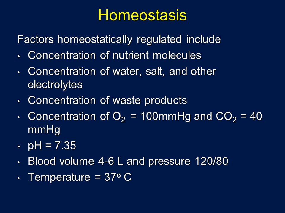 Homeostasis Factors homeostatically regulated include Concentration of nutrient molecules Concentration of nutrient molecules Concentration of water,
