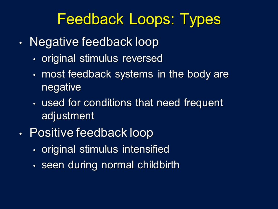 Feedback Loops: Types Negative feedback loop Negative feedback loop original stimulus reversed original stimulus reversed most feedback systems in the