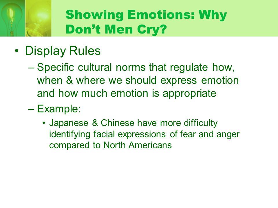 Showing Emotions: Why Dont Men Cry.