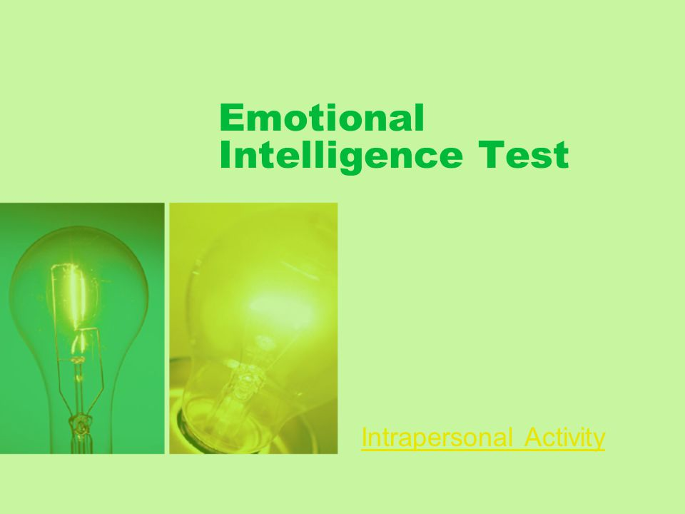Emotional Intelligence Test Intrapersonal Activity