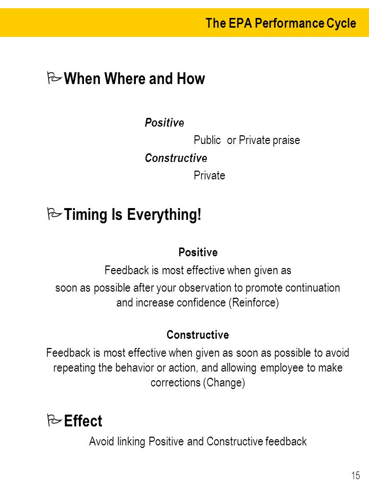 15 The EPA Performance Cycle P When Where and How Positive Public or Private praise Constructive Private P Timing Is Everything.