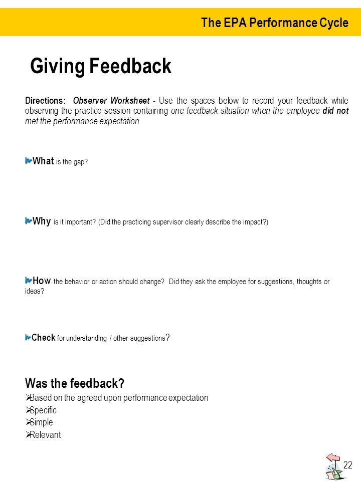 22 Giving Feedback Directions: Observer Worksheet - Use the spaces below to record your feedback while observing the practice session containing one feedback situation when the employee did not met the performance expectation.
