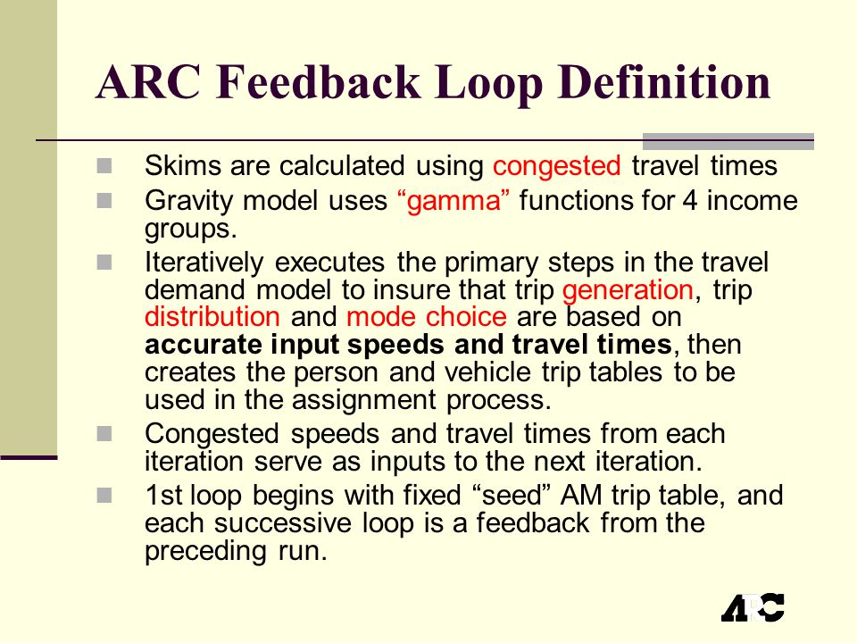 ARC Feedback Loop Definition Skims are calculated using congested travel times Gravity model uses gamma functions for 4 income groups.