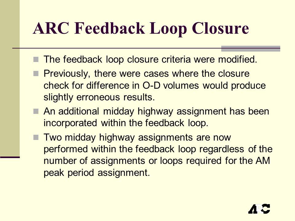 ARC Feedback Loop Closure The feedback loop closure criteria were modified.
