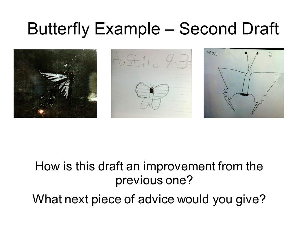 Butterfly Example – Second Draft How is this draft an improvement from the previous one? What next piece of advice would you give?