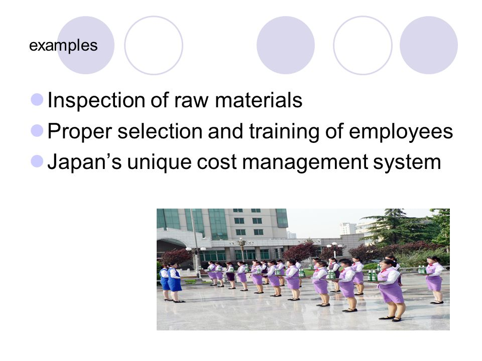 examples Inspection of raw materials Proper selection and training of employees Japans unique cost management system