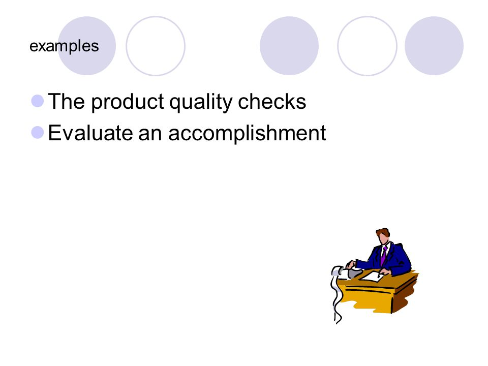 examples The product quality checks Evaluate an accomplishment