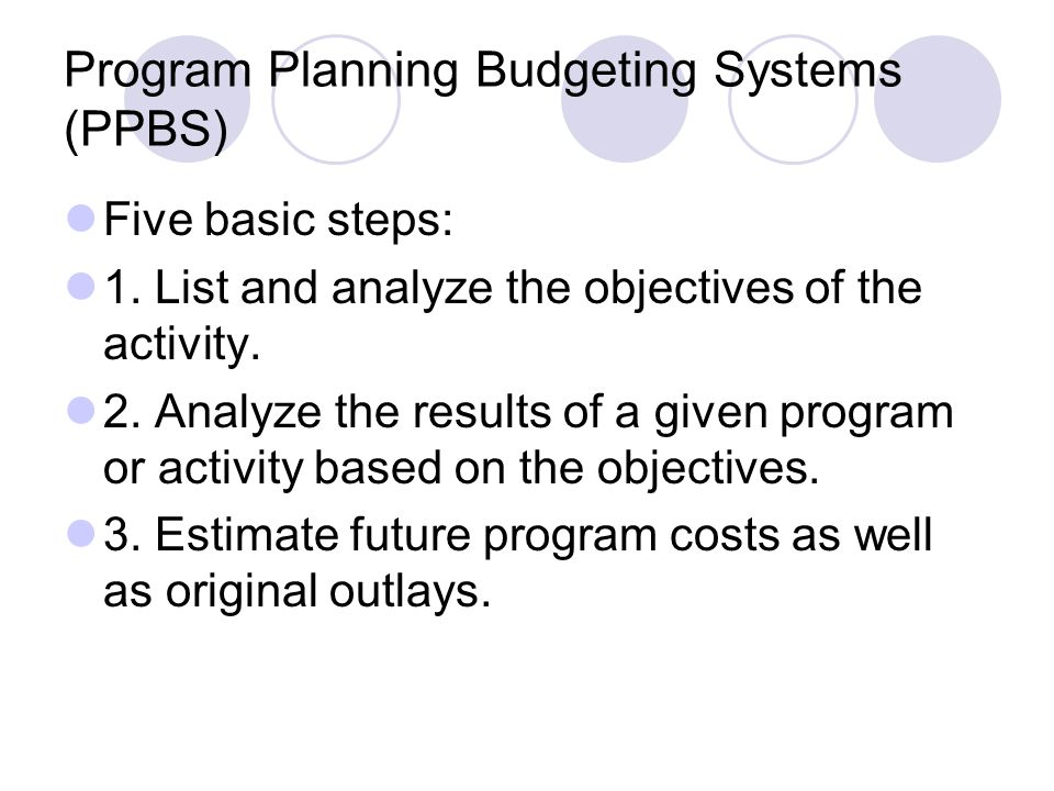 Program Planning Budgeting Systems (PPBS) Five basic steps: 1. List and analyze the objectives of the activity. 2. Analyze the results of a given prog