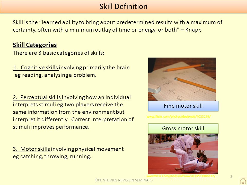 Skill Definition Skill is the learned ability to bring about predetermined results with a maximum of certainty, often with a minimum outlay of time or