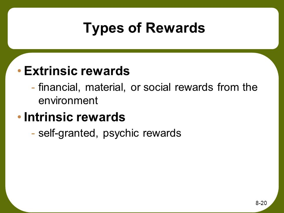 Types of Rewards Extrinsic rewards -financial, material, or social rewards from the environment Intrinsic rewards -self-granted, psychic rewards 8-20