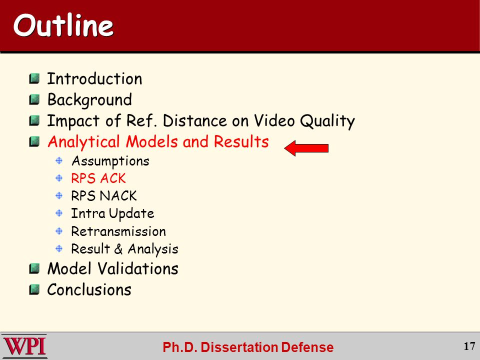 Ph.D. Dissertation Defense 17 Outline Introduction Background Impact of Ref.