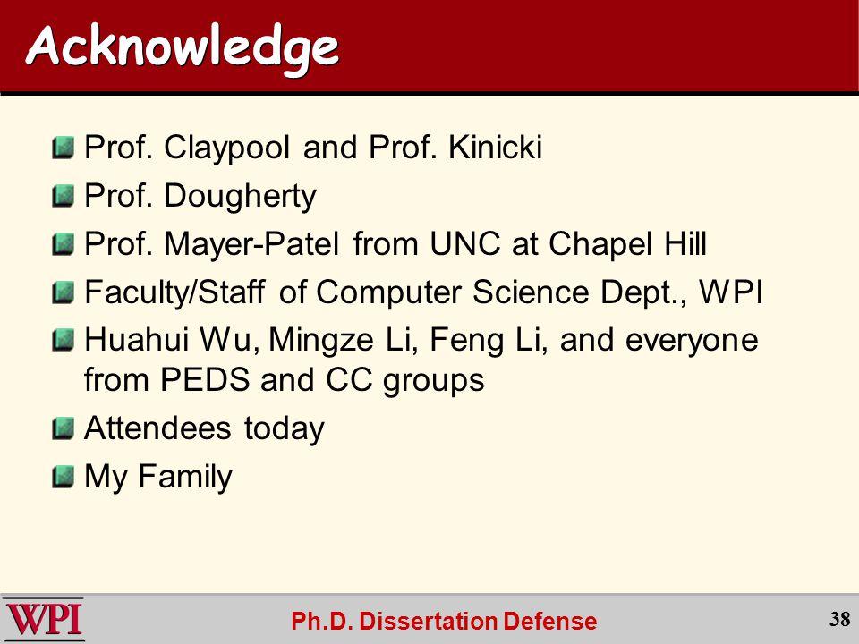 Ph.D. Dissertation Defense 38 Acknowledge Prof. Claypool and Prof.