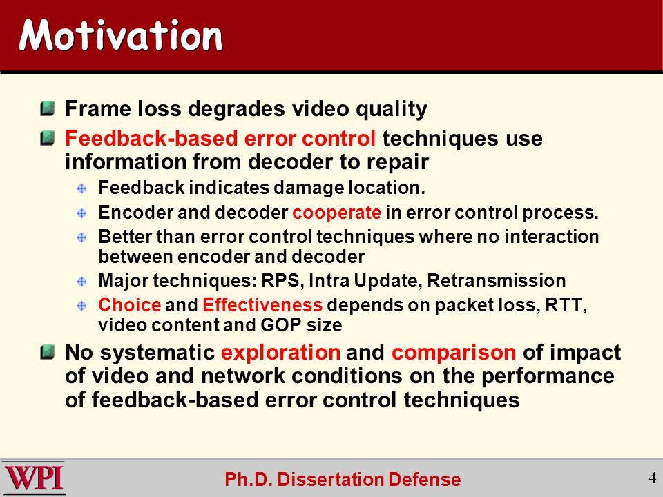 Ph.D.Dissertation Defense 15 PSNR vs.
