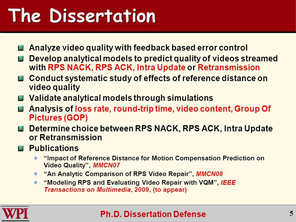 Ph.D.Dissertation Defense 16 VQM vs.