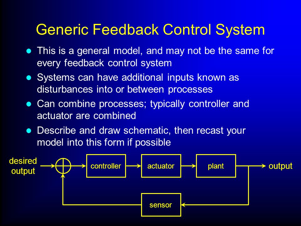 Generic Feedback Control System This is a general model, and may not be the same for every feedback control system Systems can have additional inputs known as disturbances into or between processes Can combine processes; typically controller and actuator are combined Describe and draw schematic, then recast your model into this form if possible actuator sensor desired output output controllerplant