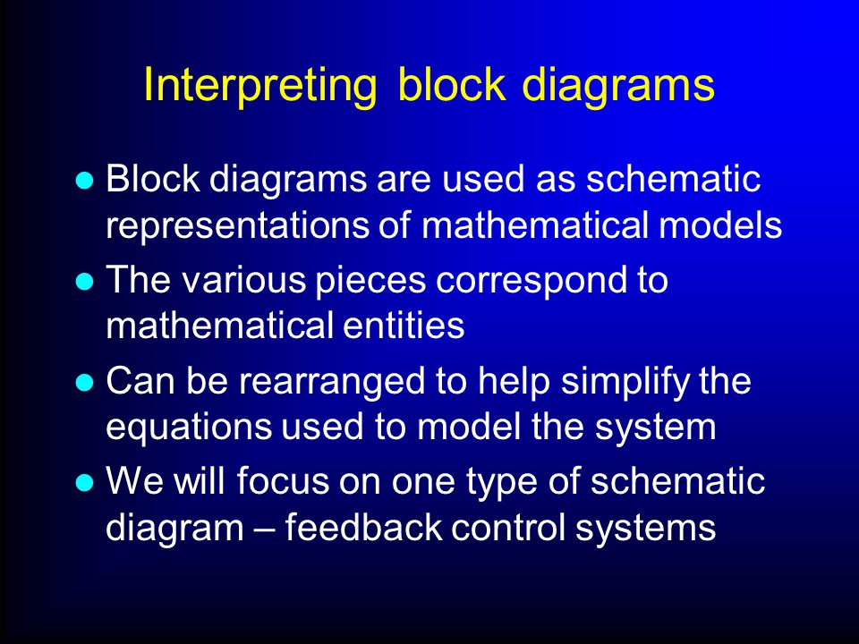 Interpreting block diagrams Block diagrams are used as schematic representations of mathematical models The various pieces correspond to mathematical entities Can be rearranged to help simplify the equations used to model the system We will focus on one type of schematic diagram – feedback control systems