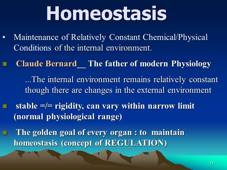 11Homeostasis of the internal environment.Maintenance of Relatively Constant Chemical/Physical Conditions of the internal environment. n Claude Bernar