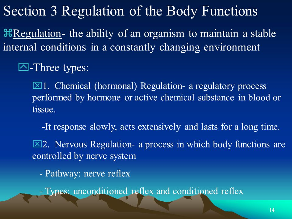 14 Section 3 Regulation of the Body Functions zRegulation- the ability of an organism to maintain a stable internal conditions in a constantly changin