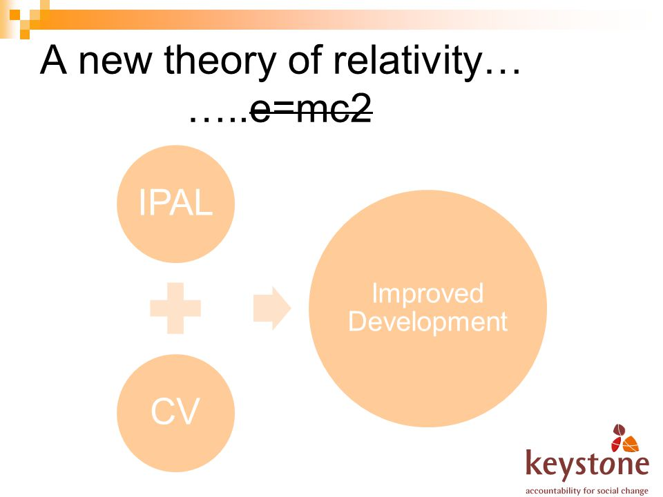 A new theory of relativity… …..e=mc2 IPALCV Improved Development