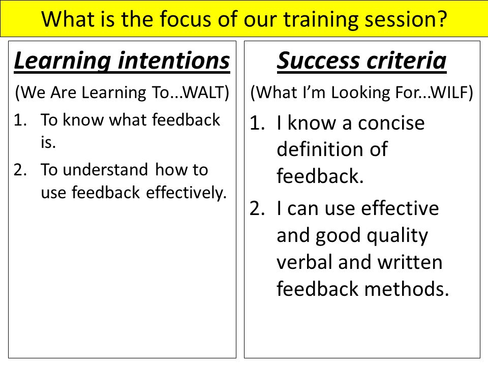 What is the focus of our training session? Learning intentions (We Are Learning To...WALT) 1.To know what feedback is. 2.To understand how to use feed