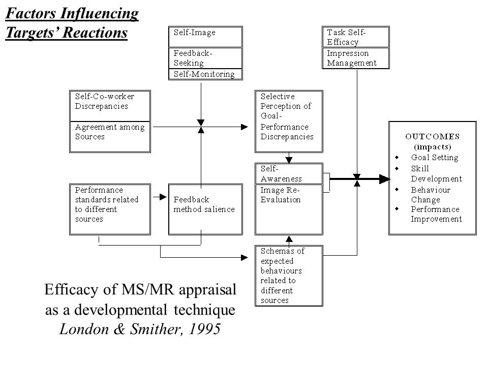 Efficacy of MS/MR appraisal as a developmental technique London & Smither, 1995 Factors Influencing Targets Reactions