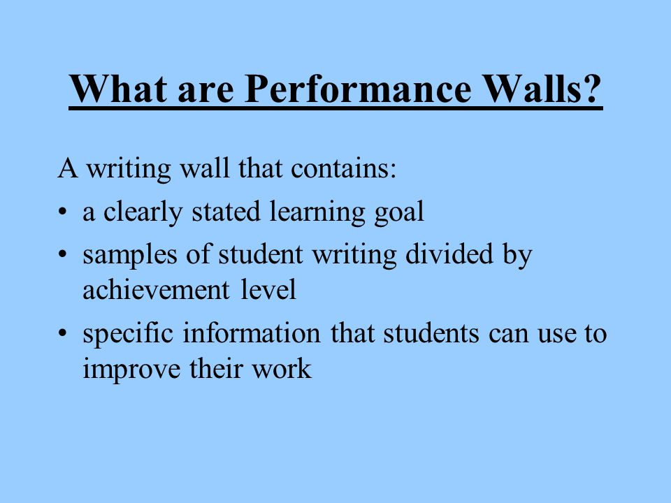 What are Performance Walls.