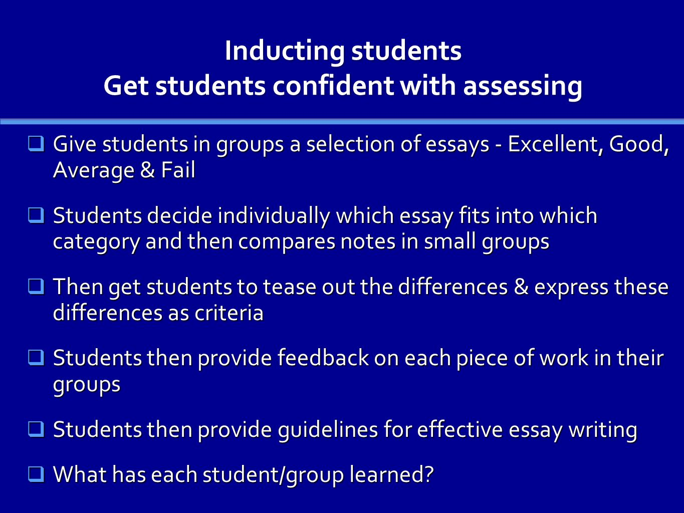 Inducting students Get students confident with assessing Give students in groups a selection of essays - Excellent, Good, Average & Fail Give students in groups a selection of essays - Excellent, Good, Average & Fail Students decide individually which essay fits into which category and then compares notes in small groups Students decide individually which essay fits into which category and then compares notes in small groups Then get students to tease out the differences & express these differences as criteria Then get students to tease out the differences & express these differences as criteria Students then provide feedback on each piece of work in their groups Students then provide feedback on each piece of work in their groups Students then provide guidelines for effective essay writing Students then provide guidelines for effective essay writing What has each student/group learned.