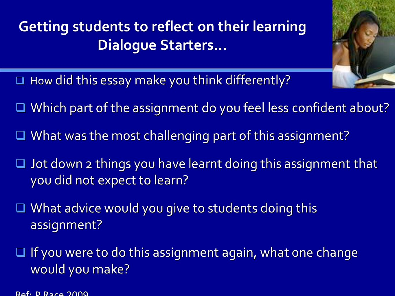 Getting students to reflect on their learning Dialogue Starters...