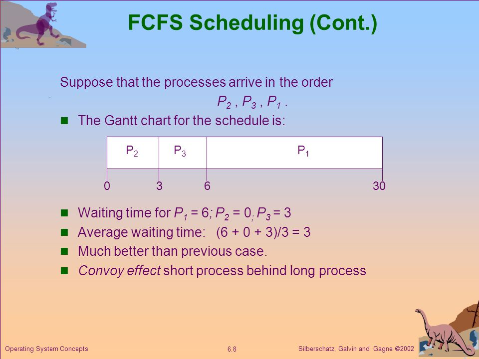 Silberschatz, Galvin and Gagne 2002 6.8 Operating System Concepts FCFS Scheduling (Cont.) Suppose that the processes arrive in the order P 2, P 3, P 1