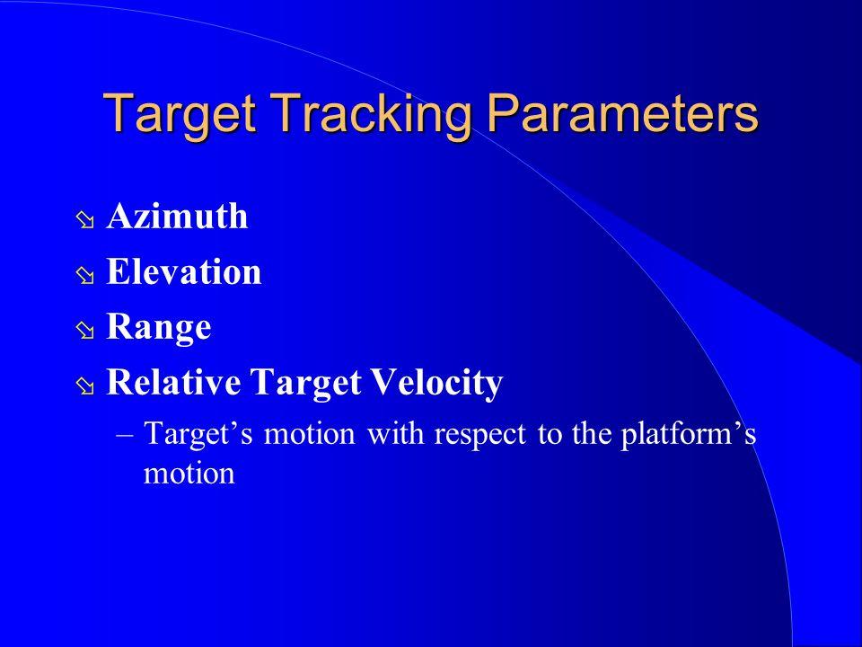 Target Tracking Parameters ø Azimuth ø Elevation ø Range ø Relative Target Velocity –Targets motion with respect to the platforms motion