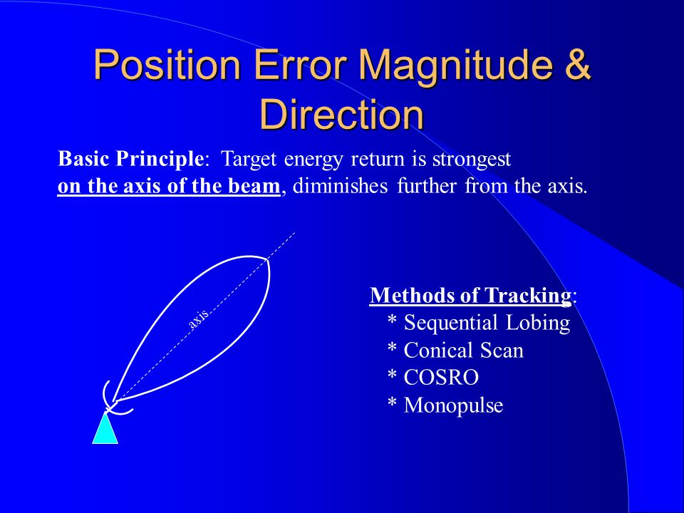Basic Principle: Target energy return is strongest on the axis of the beam, diminishes further from the axis. axis Methods of Tracking: * Sequential L